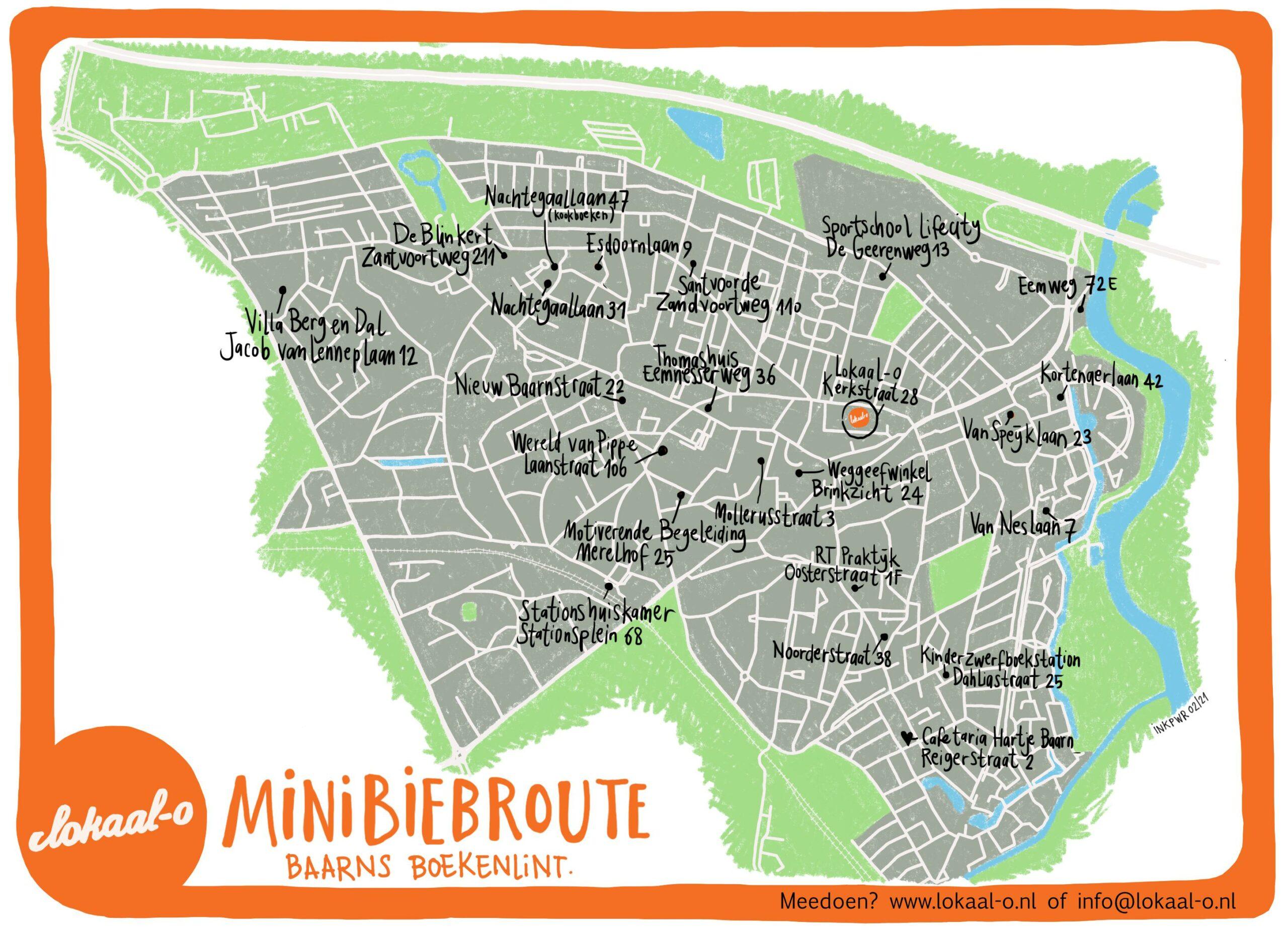 Kaart met minibiebs in Baarn