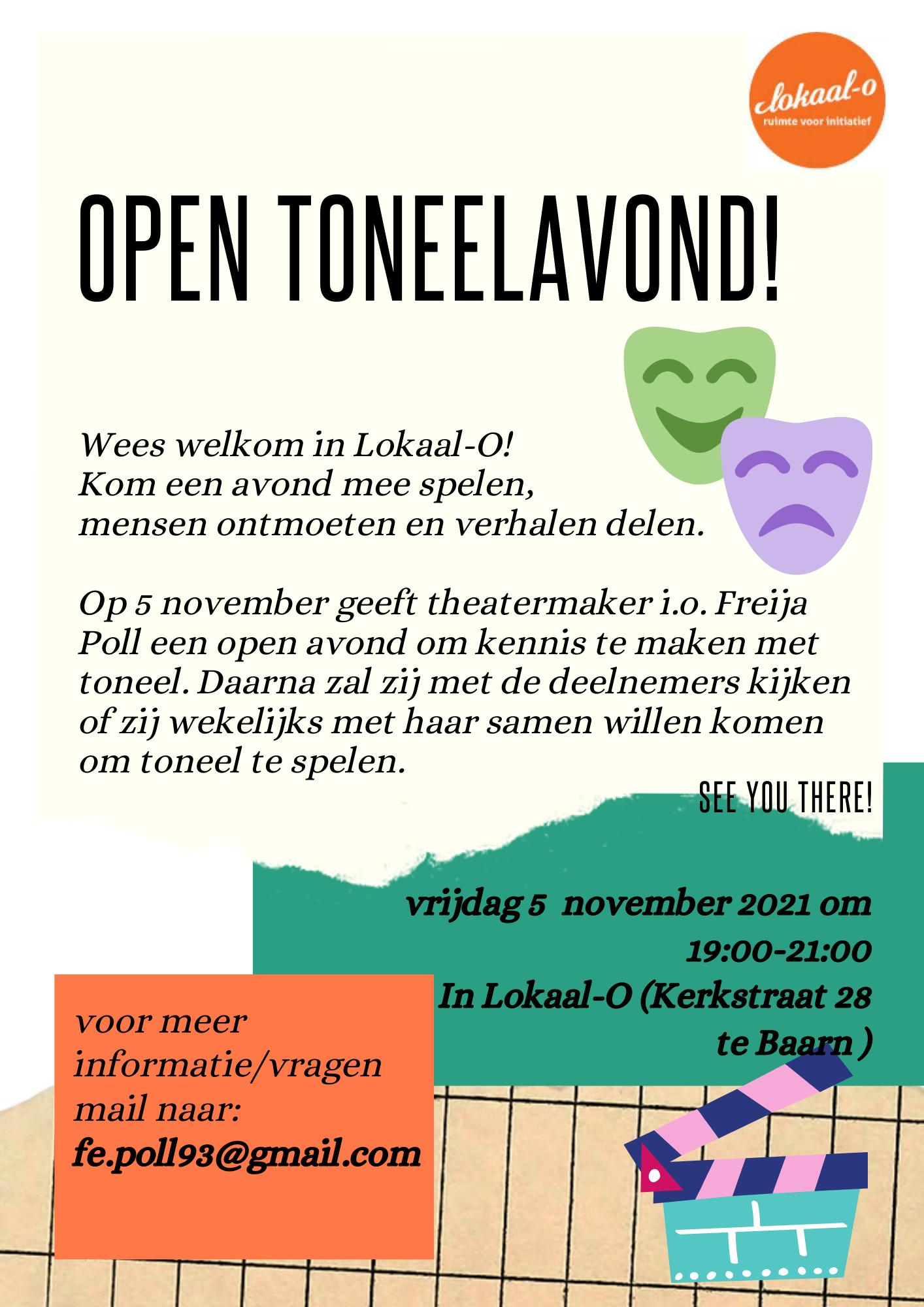 Lees meer over het artikel Open toneelavond op 5 november
